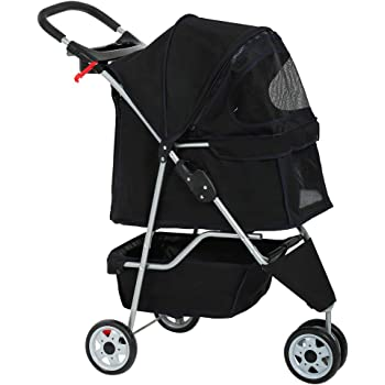 Dog Stroller Pet Stroller Cat Stroller for Medium Small Dogs Foldable Travel 3 Wheels Waterproof Puppy Stroller,Multiple Colors