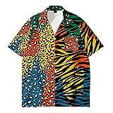 Camisa Hawaiana Hombre,Camisa Hawaiana con Botones Hawaianos De Manga Corta para Hombre, Costuras De Leopardo A La Moda, Camisetas con Estampado 3D, Casual, De Secado Rápido, Manga Corta, Verano, V