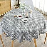 Mantel redondo simple redondo de algodón y lino estilo nórdico antiarrugas para la mesa de la cocina (diámetro 120 cm), color gris