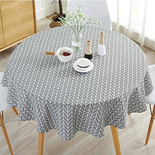 Runde Tischdecke Einfache runde Tischdecke aus Baumwoll-Leinengewebe im nordischen Stil Faltenfest für den Tischde koration Sdurchmesser in der Küche (Grau, Durchmesser 150 cm)