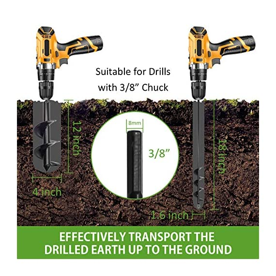 """SETROVIC Garden Spiral Hole Drill Planter 1.6""""x18"""" & 4""""x12"""" Garden Auger Bulb Planter Tool Rapid Planter Garden Drill Planter Hole Digger for 3/8"""" Hex Driver Drill 2-in-1 Set 4 【2-in-1 Set】1.6""""x18"""" & 4""""x12"""" bulb planter suitable for various planting requirements. Thickened and elongated drill enables easier drilling and thickened link rod is more durable and resistant, quickly digs holes up using the power of your hand held drill. 【High Quality Products】 Made of heavy duty steel, with premium glossy painted finish. The auger drill bit point on it hits the ground first and keeps it steady when you are digging hard grounds. The rod is connected with the shaft, it's difficult to break.This auger drill bit is suitable for most 3/8"""" hex drive drill. 【Efficient Planting】Our bedding plants drill bit will make hundreds of holes in few minutes, makes hole digging easier, it will save your time & save your back. The long size drill bit allows you to stand and dig. It can save much effort for you in massive digging."""