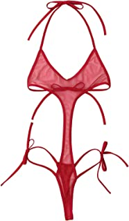 TTAO Women's One Piece Extreme Bikini Swimsuit Sheer Mesh Cut Out Lingerie Bodysuit Backless