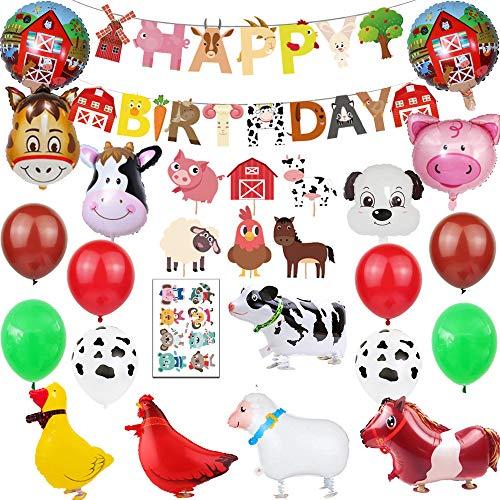 Finypa Bauernhof Tier Partydekorationen Scheunenhof Folienballons und Cupcake Topper (Entenhuhn Kuh Schaf Schwein Esel) Geburtstag Spielzeuge Party Luftballons Dekoration Mädchen Junge