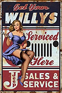 Garage Art Get Your Willy's Service Here Jeep Sales and Service Sign