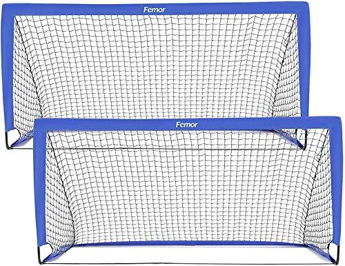 Femor Portería de Fútbol Portátil para Niños, Jaula de Fútbol Plegable(Set de 2), Rápido de Instalar, Ideal para Entrenamiento en Jardines, Playas,180×90×90cm