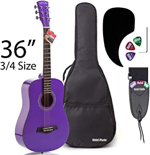 Acoustic Guitar Bundle Junior (Travel) Series by Hola! Music with D'Addario EXP16 Steel Strings, Padded Gig Bag, Guitar Strap and Picks, 3/4 Size 36 Inch (Model HG-36PP), Glossy Purple