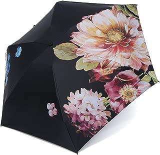 AUWANGAOFEI Multicolor Printing Lightweight Folding Pocket Umbrella Outdoor Umbrella UV (Color : Black, Size : 50 * 6K)