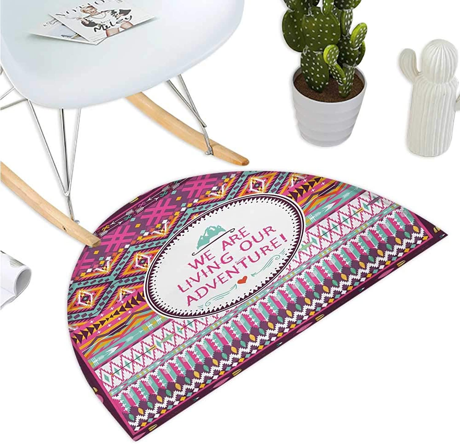 Ethnic Semicircular Cushion Tribal Striped Geometrical Design with a Quote We are Living Our Adventure Print Entry Door Mat H 43.3  xD 64.9  Multicolor
