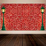 Christmas Brick Wall Theme Decoration Supplies, Extra Large Fabric Red Brick Wall Street Backdrop for Baby Shower Banner Decoration, Boy Girl Birthday Party Theme Photo Booth Background