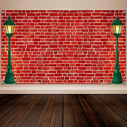 Materiales de Decoración de Tema de Pared de Ladrillo Fondo de Calle Pared de Ladrillo Rojo Tela Extra Grande para Fiesta de Bienvenida a Bebé, Fondo Fotográfico de Cumpleaños de Niños Niñas