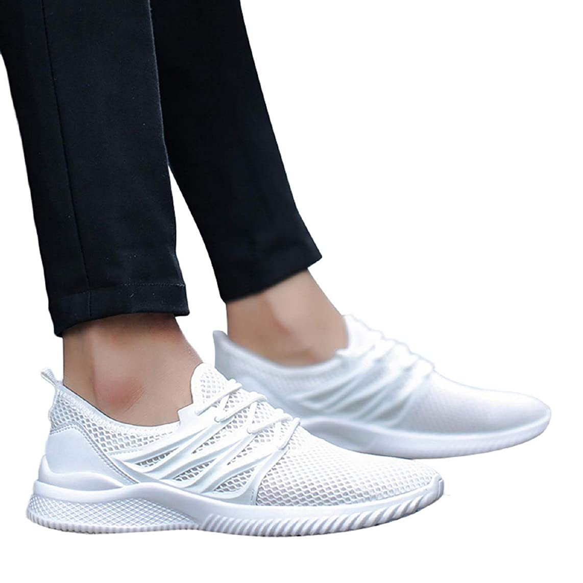 nanzhushangmao Men's Lightweight Lace Up Casual Walking Shoes Breathable Athletic Fitness Jogging Tennis Racquet Sport Cycling Running