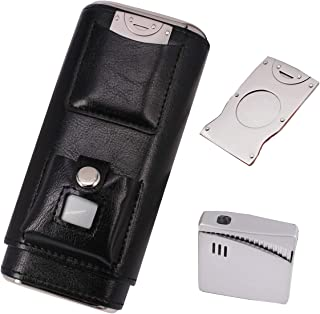 AMANCY Elegant 3 Holder Black Cigar Case with Lighter and Cutter Great Gift Set