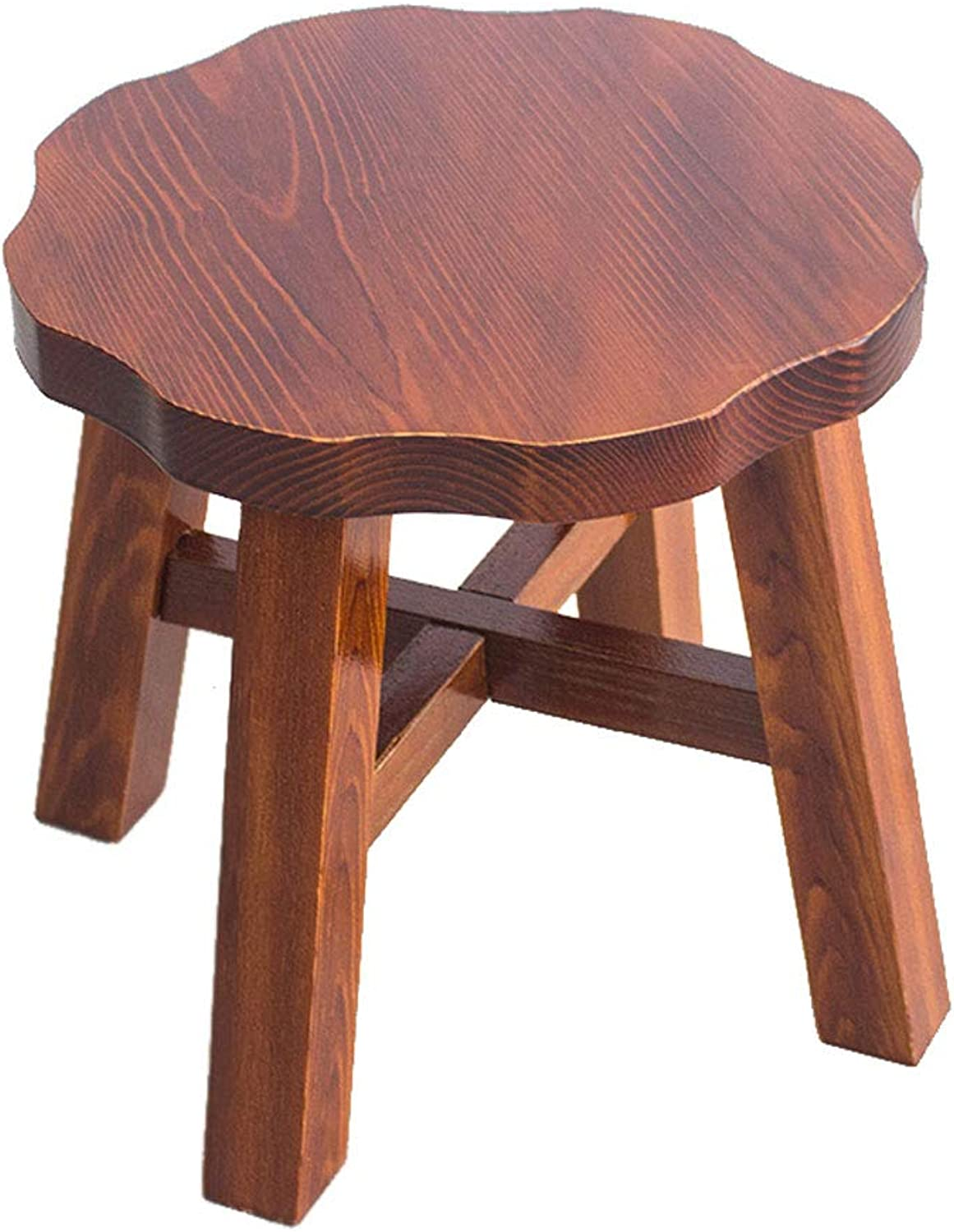 Living Room Creative Solid Wood Stool Adult Bench Fashion Round Stool (color   B)