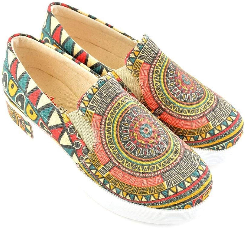 GOBY Women's shoes ''Brown Geoprint Platform Slip-On Sneaker VN4301