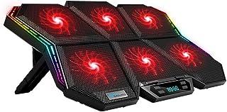 مبرد كمبيوتر محمول كولكول K40 RGB 6 مراوح تصميم كتم للصوت مع سرعة الوقوف قابل للتعديل ارتفاع ضوء ضوء ملون