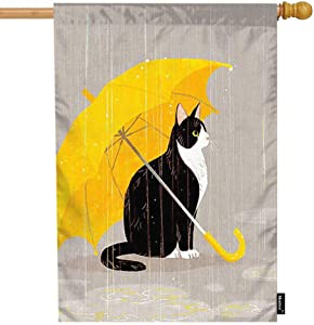 Moslion Cat House Flag Black Cat Holding Yellow Umbrella in The Rain Garden Flags 28x40 Inch Double-Sided Banner Welcome Yard Flag Home Outdoor Decor. Lawn Villa