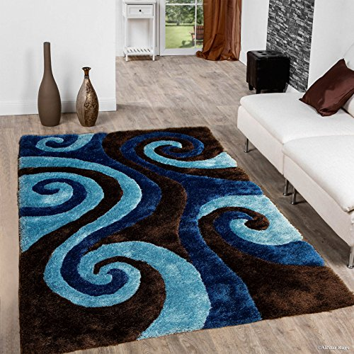 Allstar 8x11 Espresso Modern and Contemporary Hand Carved Rectangular Shag Accent Rug with Turquoise and Cobalt Abstract Swirl Design (7' 5' x 10' 5')