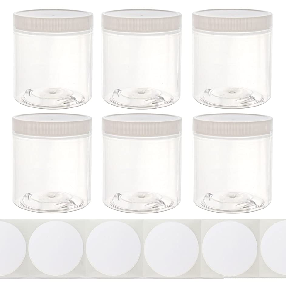 8oz Slime Glue Putty Storage Containers Jars (6 Pack) with Labels - Clear Empty Wide-Mouth Plastic containers with White lids for DIY Slime Making