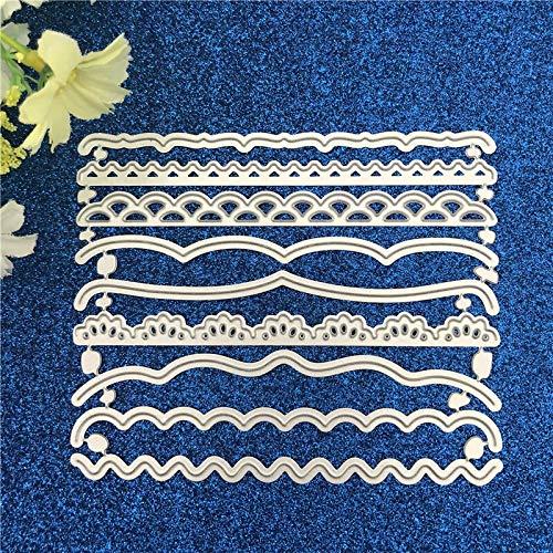 LIUYB 9pcs / Set Tarjetas Decorativas filos de Corte de Metal Muere de la Plantilla de Bricolaje Scrapbooking Álbum de Estampado de Papel Tarjetas Deco Crafts troquelados