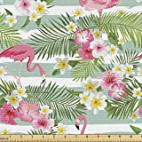 Ambesonne Flamingo Fabric by The Yard, Flamingos with Exotic Hawaiian Leaves Flowers on Striped Vintage Background, Decorative Fabric for Upholstery and Home Accents, 3 Yards, Green Pink