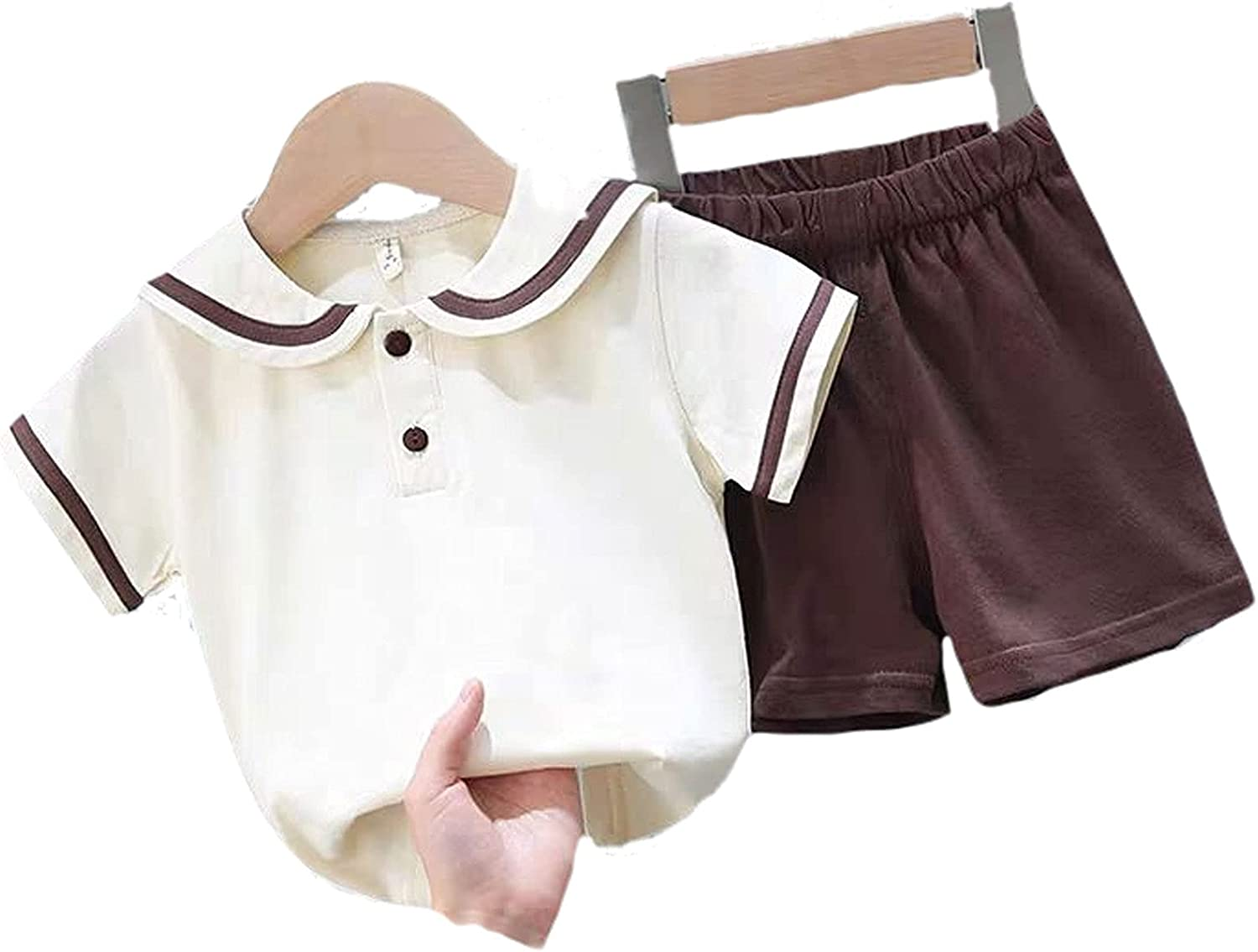 Navy Style Cotton Fashion Sports Casual Two-Piece Short-Sleeved Children'S Clothing