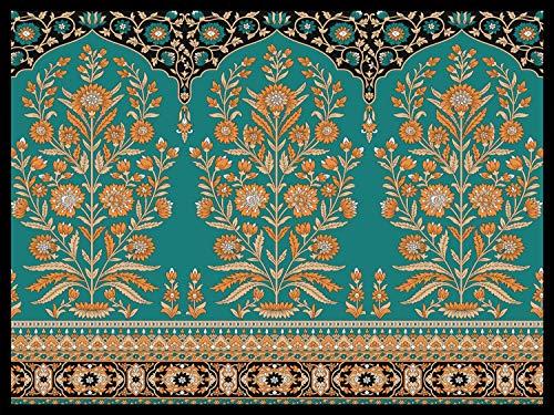 Queence | floorinx | Design-Napfunterlage aus HiTech-Fleece für Haustiere 'Oriental' Hunde Katzen | Freßnapf-Unterlage | innen und außen | Futtermatte | rutschfest, Größe:60x45 cm