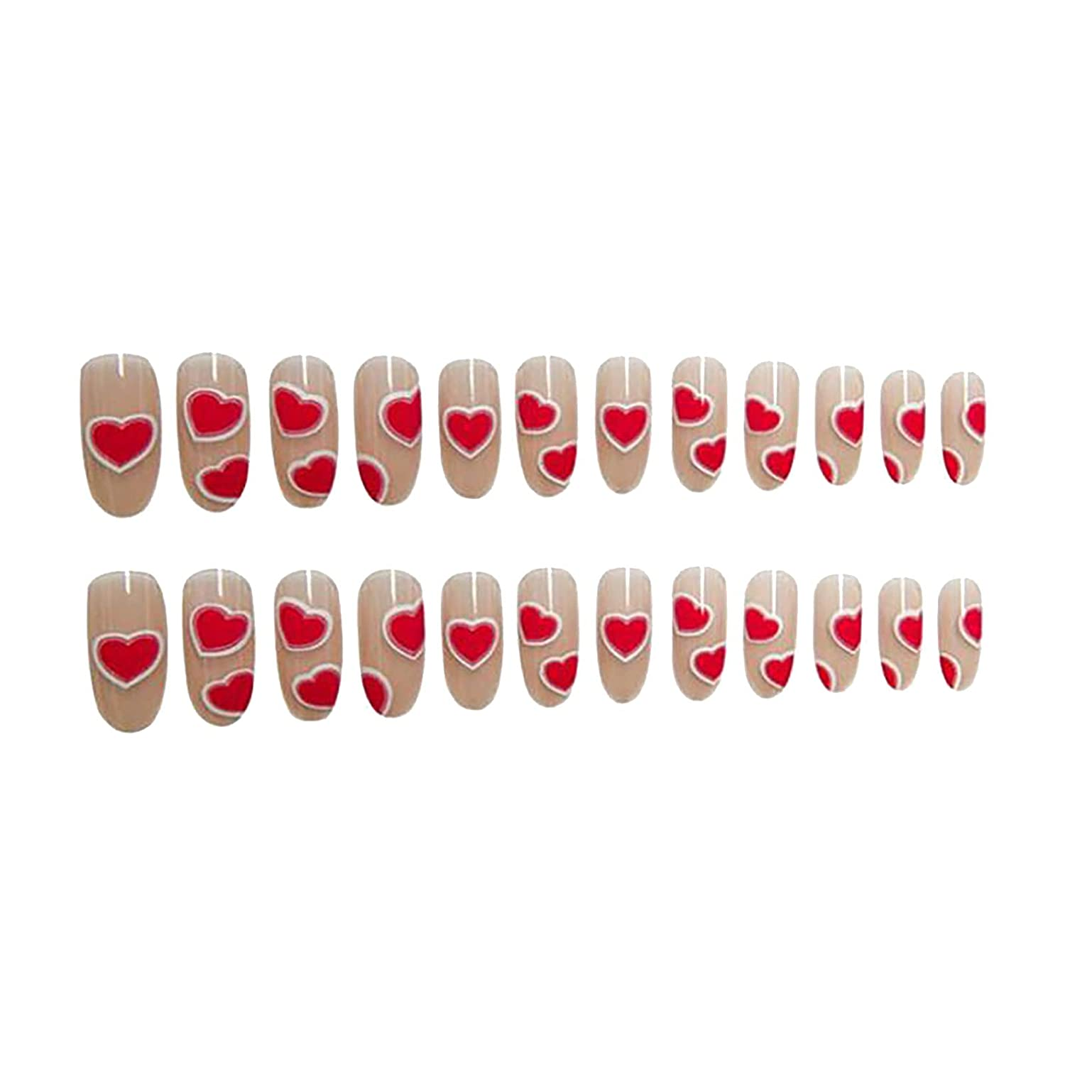 overseas Peach Red Love Heart Series Fake Nails Remo Wearing Genuine Patches Art