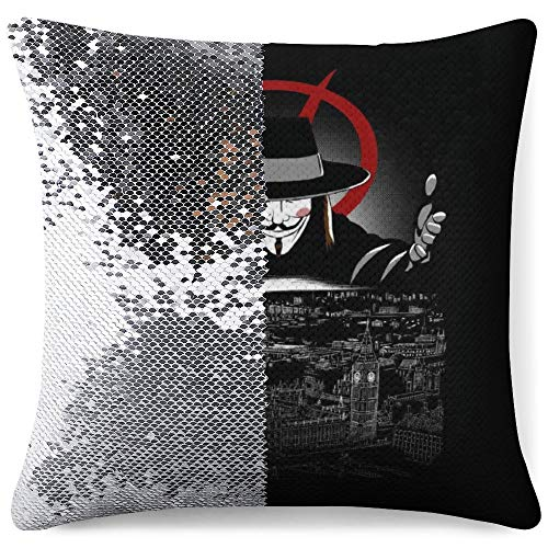 MENGQ V for Vendetta Revolution Sequined Pillowcase, Decorative Flashing Pillowcase, Used for Home Decoration Sofa Throwing Cushion Cover.