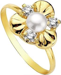 Pearl Ring 18K Multipiedra [Ab3114]