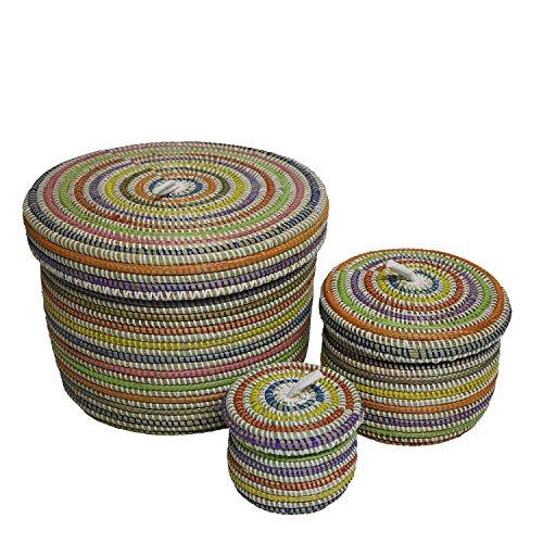 EA Déco Naturel & Design PLBMUL 3 Boites Pauleus, Plastique, Multicolore, 26 x 26 x 26 cm