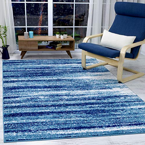 Antep Rugs Siesta Collection Modern Contemporary Polypropylene Indoor Area Rug (Blue/Navy, 8' X 10')