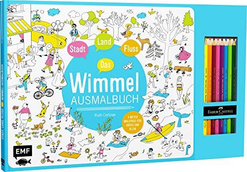 Stadt, Land, Fluss – Das Wimmel-Ausmalbuch: Mit 8 original Faber-Castell-Buntstiften