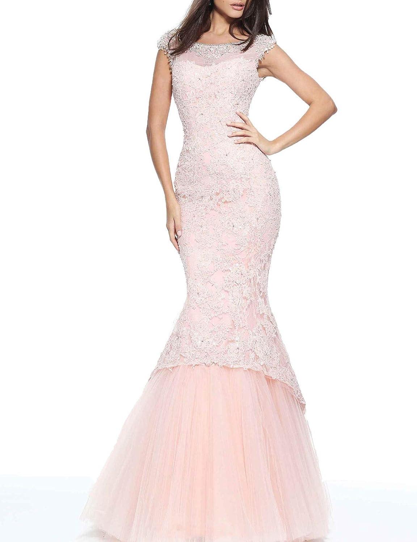 Aishanglina Women's Rhinestone Beaded Neckline Lace Appliques Mermaid Formal Gown Wedding Party Dress