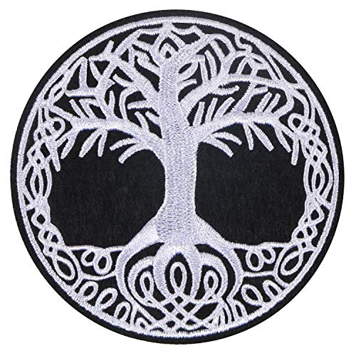 MIKIMIQI Embroidered Applique Patch The Tree of Life in Norse Sew on or Ironon Patches for DIY Costume, Jeans, Jackets, Clothing, Bags