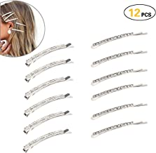 12 pieces Rhinestone Bobby Pin, Metal Hair Clips, 1 Row and 2 Row Clear Crystal Hair Barrette Pins for Women Lady Teen Girls