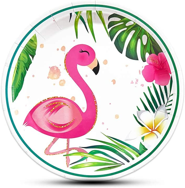 9 Dinner Paper Plates 3 Ply Napkins |Tropical Aloha Flamingo Themed Party Supplies Serves 30 12 oz Cups 7 Dessert Paper Plates Complete Party Pack Tropical Aloha Flamingo Party Supplies
