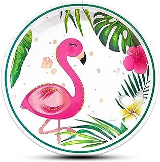 WERNNSAI 50PCS 9'' Flamingo Plates - Hawaiian Luau Tropical Themed Party Supplies Disposable Paper Tableware Dinner Plates for Birthday Summer Pool Beach Picnic Party