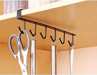 Desi Rang Shelf Metal Hook for Cups, Mugs,Under Cabinet storage, organiser, with 6 hooks,6 Cup(Black)