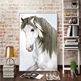 N / A Malaysian Canvas Art Indian Feather White Horse Mural Oil Painting Mural Used for Family Life Frameless 30x45cm