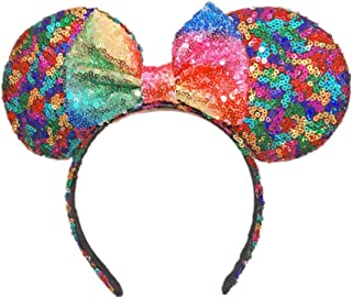 Mouse Ears Bow Headbands Glitter Princess Party Decoration Belle Cinderella Jasmine Mermaid Mouse Ears Headband for Girls (Magic butterfly)
