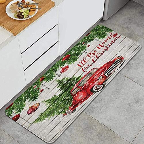PANILUR Alfombras para Cocina Baño de Cocina,Bolas de Navidad Coloridas con Pino Abeto Rojo Retro Truck Car con Copo de Nieve árbol de Navidad en Madera rústica,para Dormitorio Baño Antideslizantes