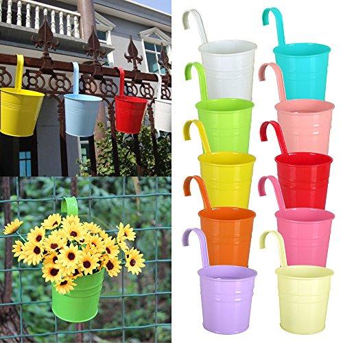 Reelva Juego de 10diferentes colores Metal para colgar macetas con orificio de drenaje flor cubo maceta balcón jardín casa adornos