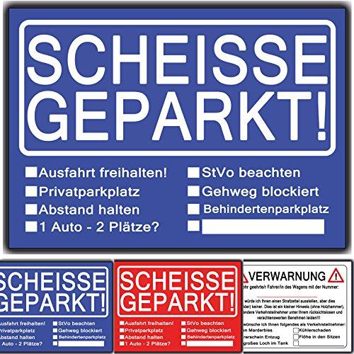 Scheisse Geparkt lustiges Set aus 3 Blöcken Rot Blau, Verwarnungsblock für Autofahrer die genervt sind von Falschparker auf Privatparkplätzen, zugeparkt werden als Geschenk zum bestenden Führerschein