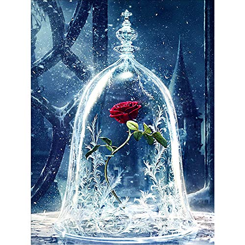 5D Diamant Gemälde voller Bohrer, Diamond Painting Set, Die Schöne und das Biest Rose Strass Stickerei Kreuzstich Kits Supply Kunst Basteln Leinwand Wand Decor Aufkleber Home Decor 35 x 45 cm