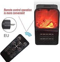 Calentador de escritorio con efecto de llama, calentador de estufa eléctrico portátil con efecto de llama de fuego de registro LED realista, 500 w de potencia,control remoto