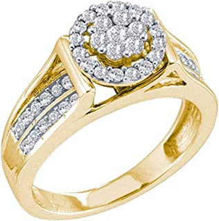 14kt Yellow Gold Womens Round Diamond Flower Cluster Ring 1/2 Cttw Ring Size 7