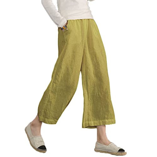 f28546f3765 Ecupper Women s Plus Size Elastic Waist Cotton Capri Pants Relaxed Loose  Casual Cropped Trousers