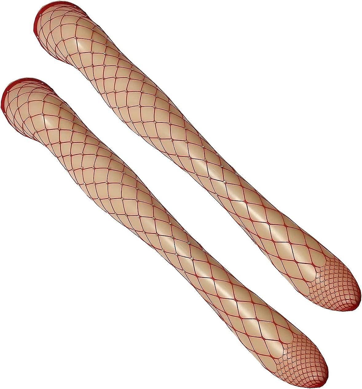 Mrotrida Women's Fishnet High Stockings Rhinestone Mesh Elastic Stockings Shiny Sexy Transparent Nylon Tights Pantyhose