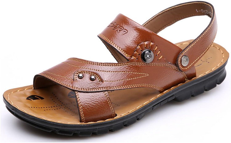 Jazlyn Men's Metal Casual Slip on Leather Flip Flop Sandals