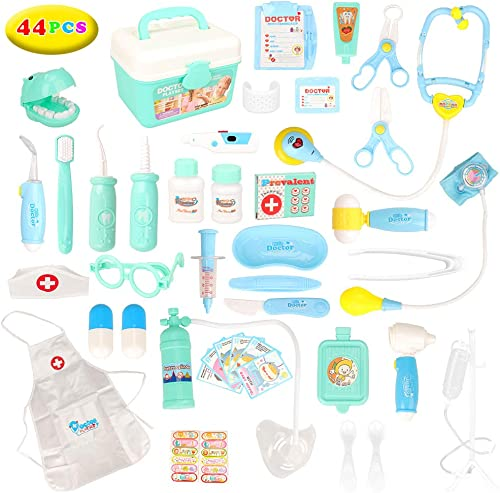 Barwa 44pcs Doctors Kit for Children, Prentent Play Dentist Medical Kit with Electronic Tools and Coat for Kids, Roll...